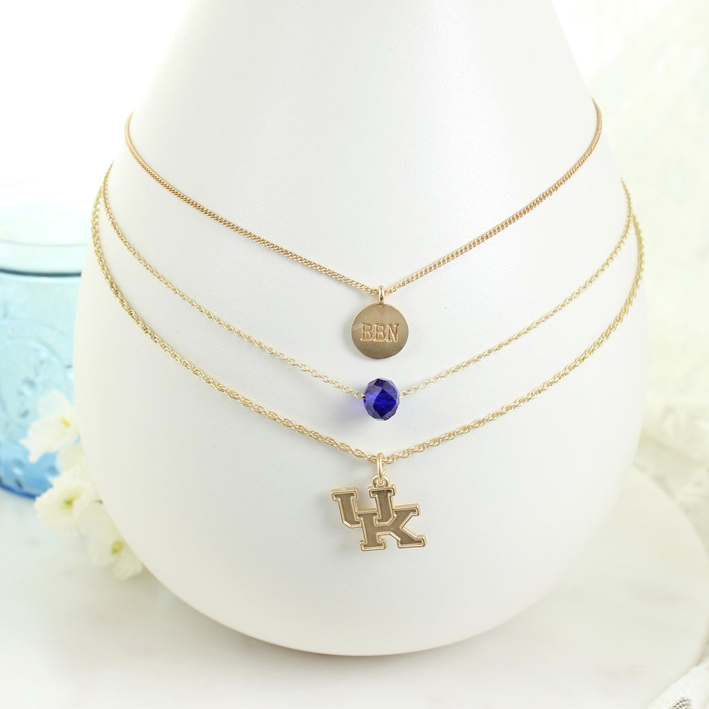 "16"" - 20"" Kentucky Matte Gold Logo Trio Necklace Set"