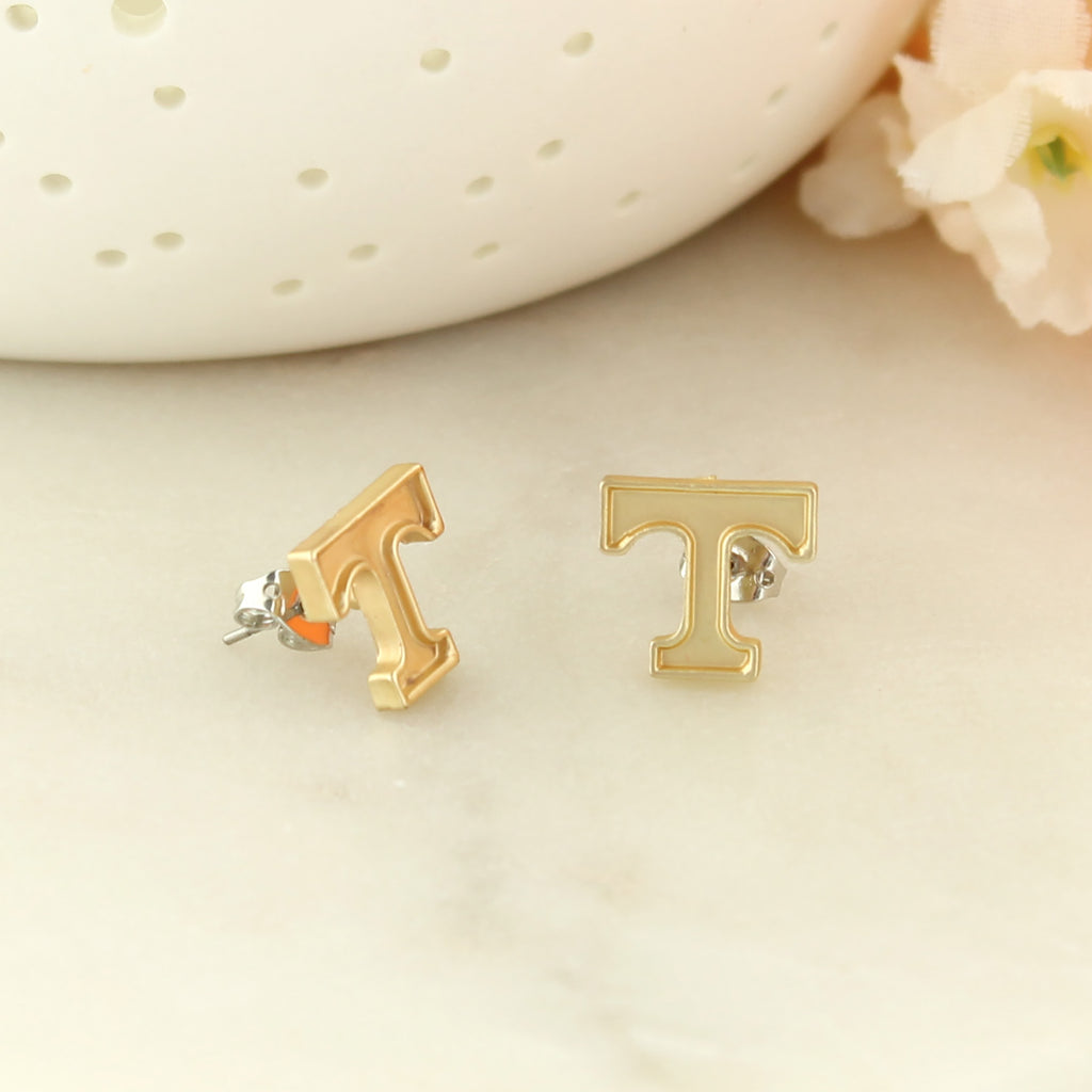 Tennessee Matte Gold Logo Stud Earrings