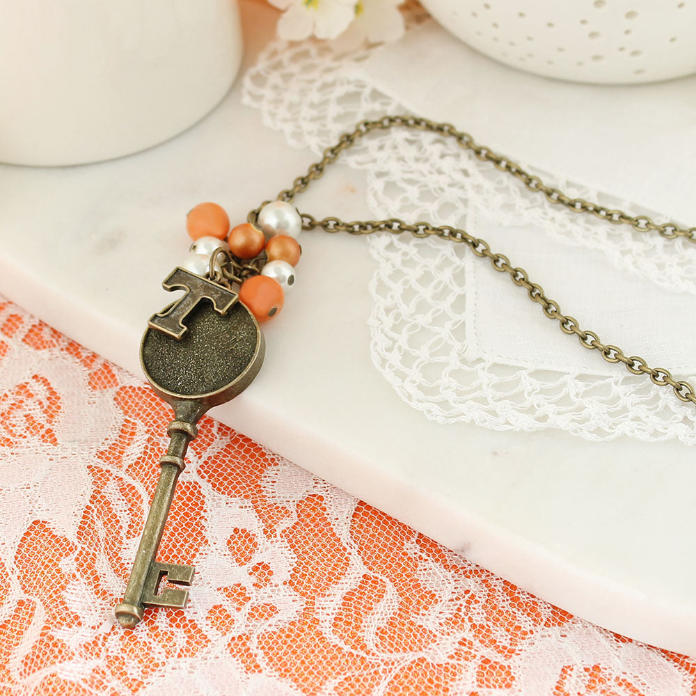 "36"" Tennessee Vintage Style Logo w/ Key and Pearl Cluster Necklace"