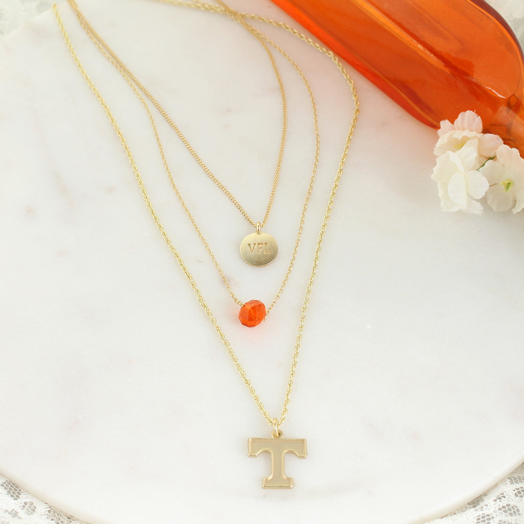 "16"" - 20"" Tennessee Matte Gold Logo Trio Necklace Set"