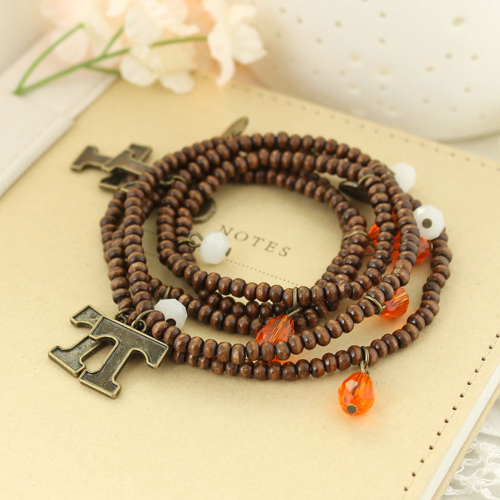 Tennessee Wood Bead Stretch Necklace/Bracelet