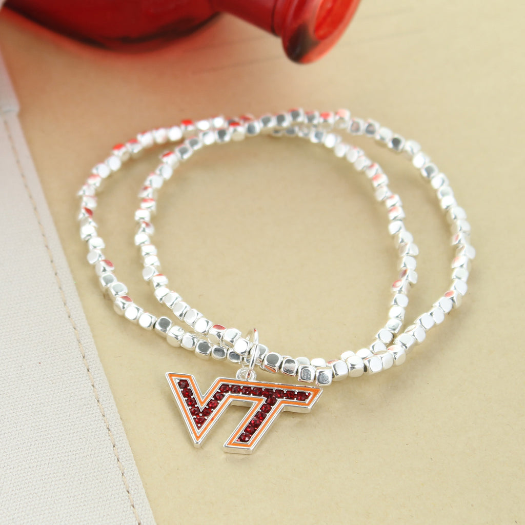 Virginia Tech Crystal Logo Stretch Bracelet