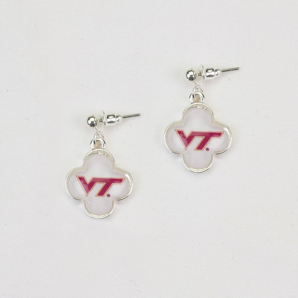 Virginia Tech Quatrefoil Earrings