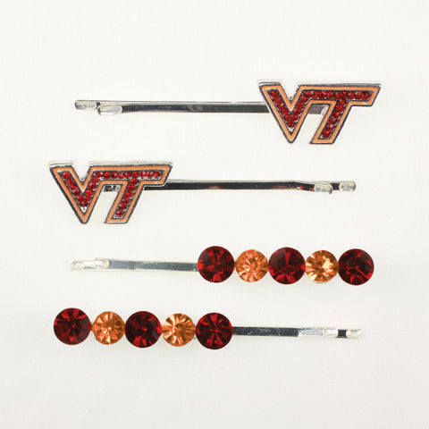 Seasons Jewelry Virginia Tech Crystal Logo Hair Pin Set
