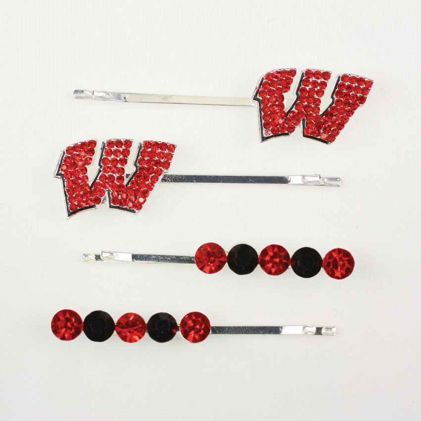 Seasons Jewelry Wisconsin Crystal Logo Hair Pin Set