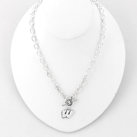 Wisconsin Silver Logo Chain Necklace