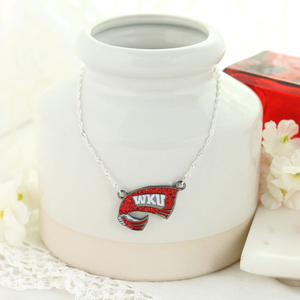 Western Kentucky Crystal Logo Necklace