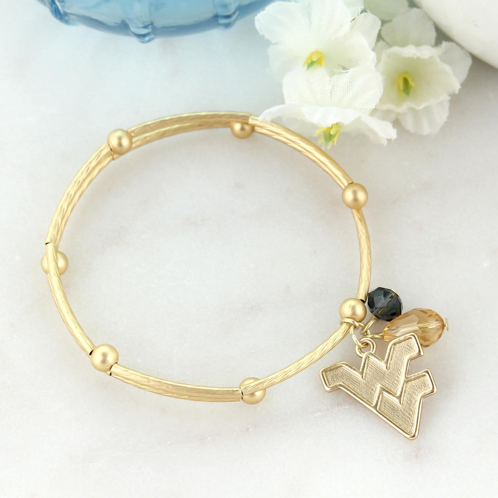 West Virginia Matte Gold Logo Bracelet