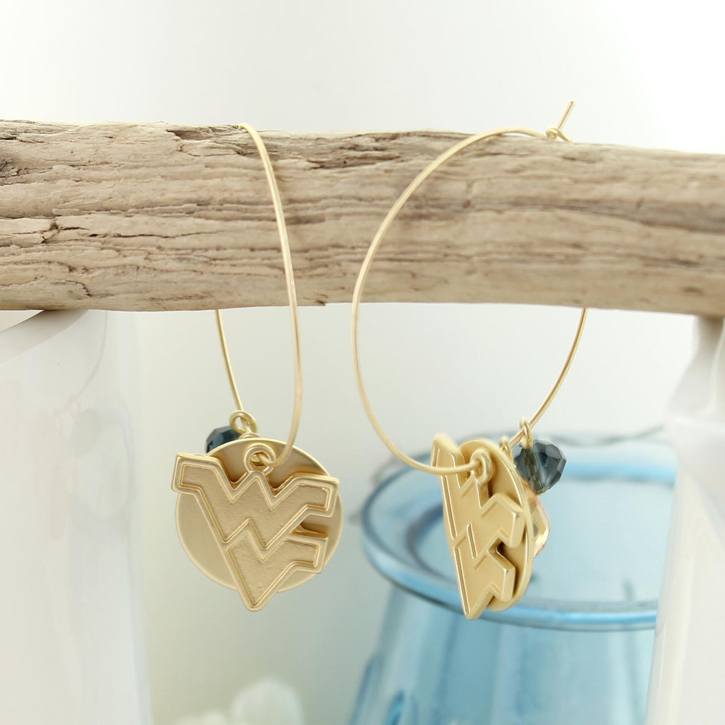 West Virginia Matte Gold Logo Hoop Earrings
