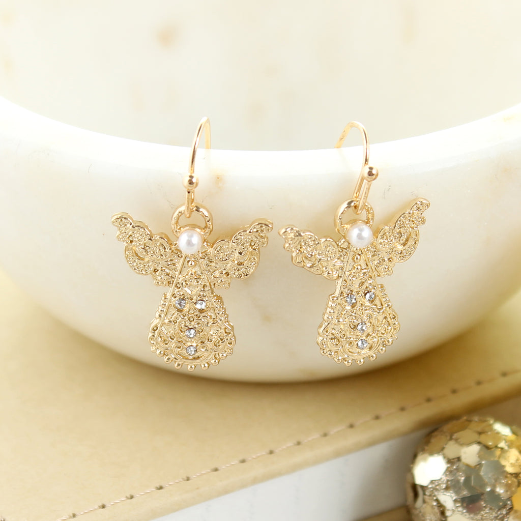Gold Filigree Angel Earrings