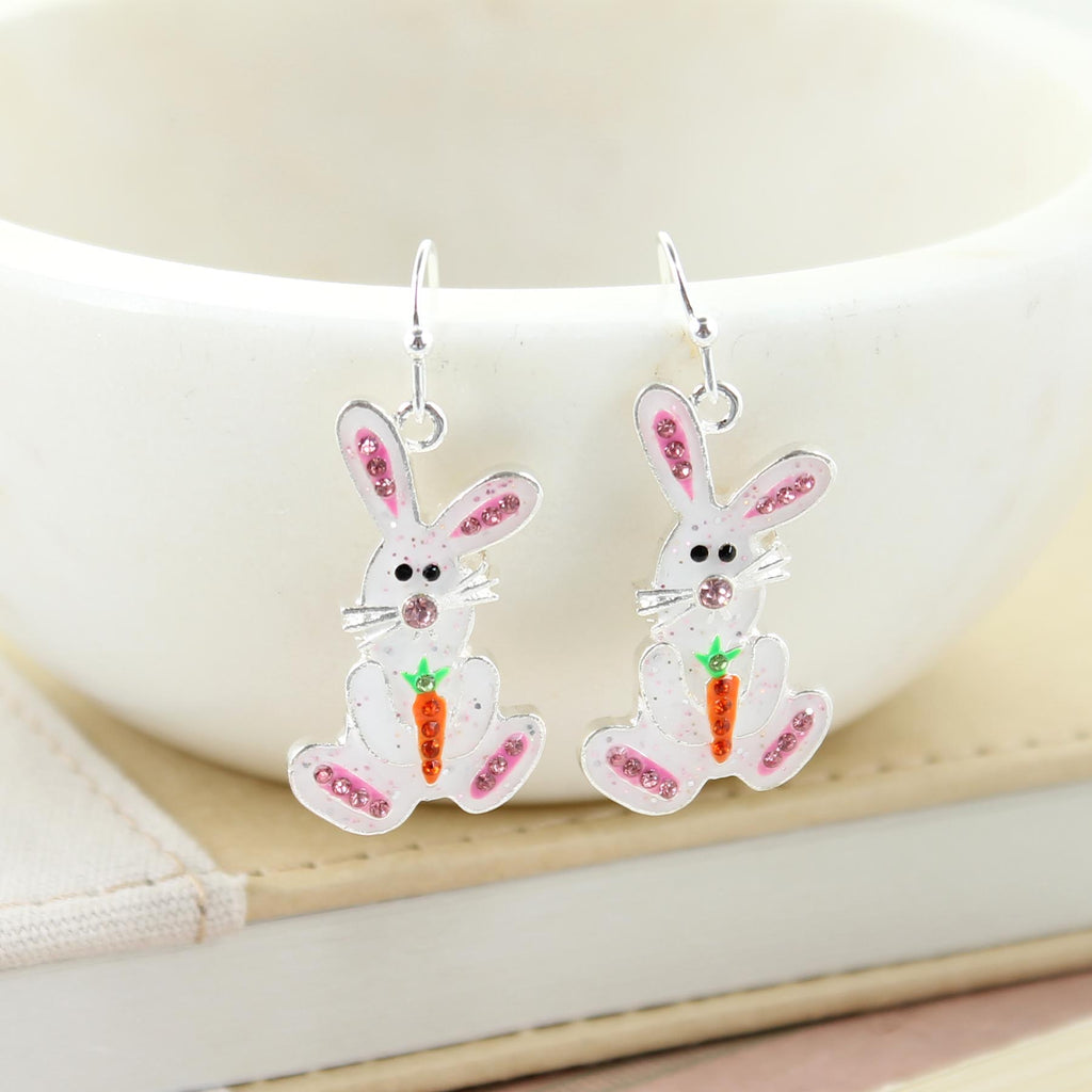 Enamel & Crystal Bunny Earrings