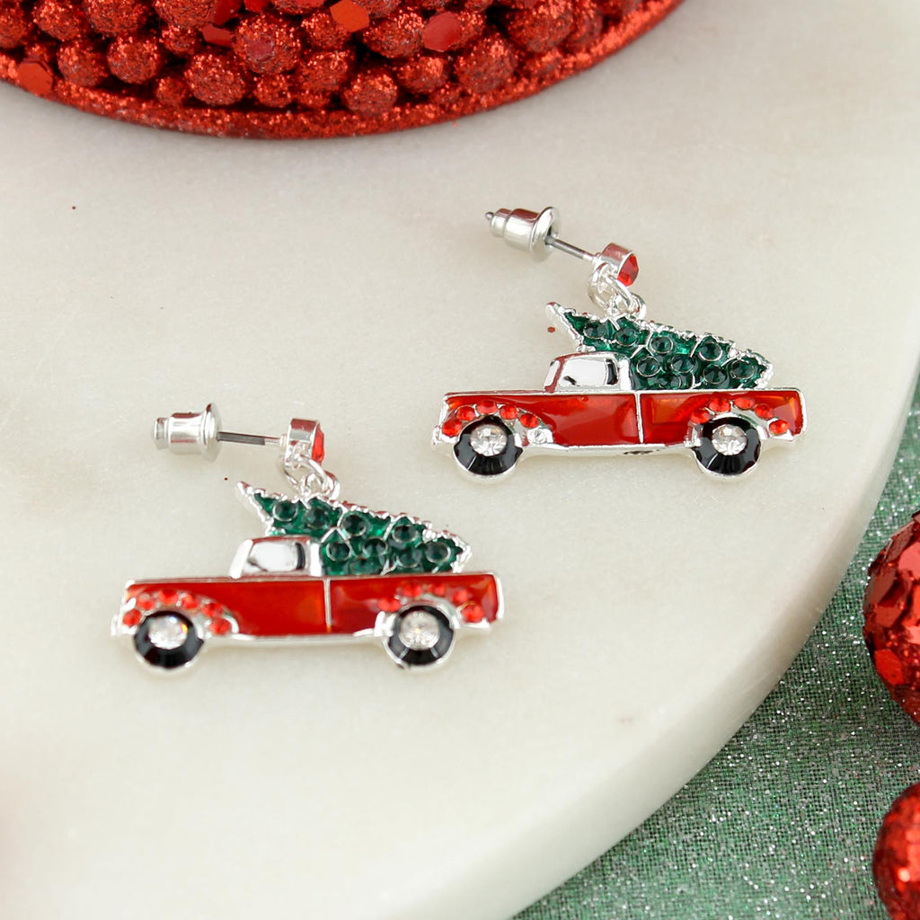 Red Pickup Truck & Christmas Tree Earrings