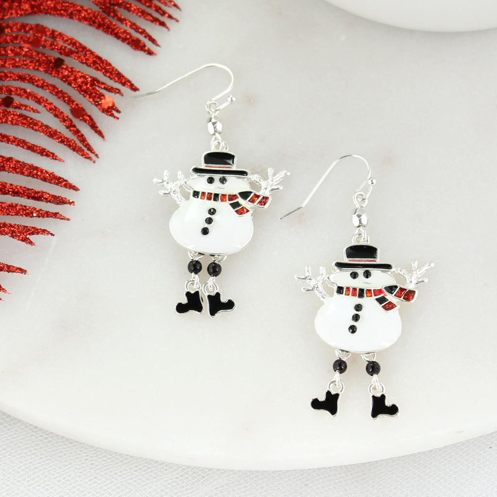 Buffalo Check Dangle Leg Snowman Earrings