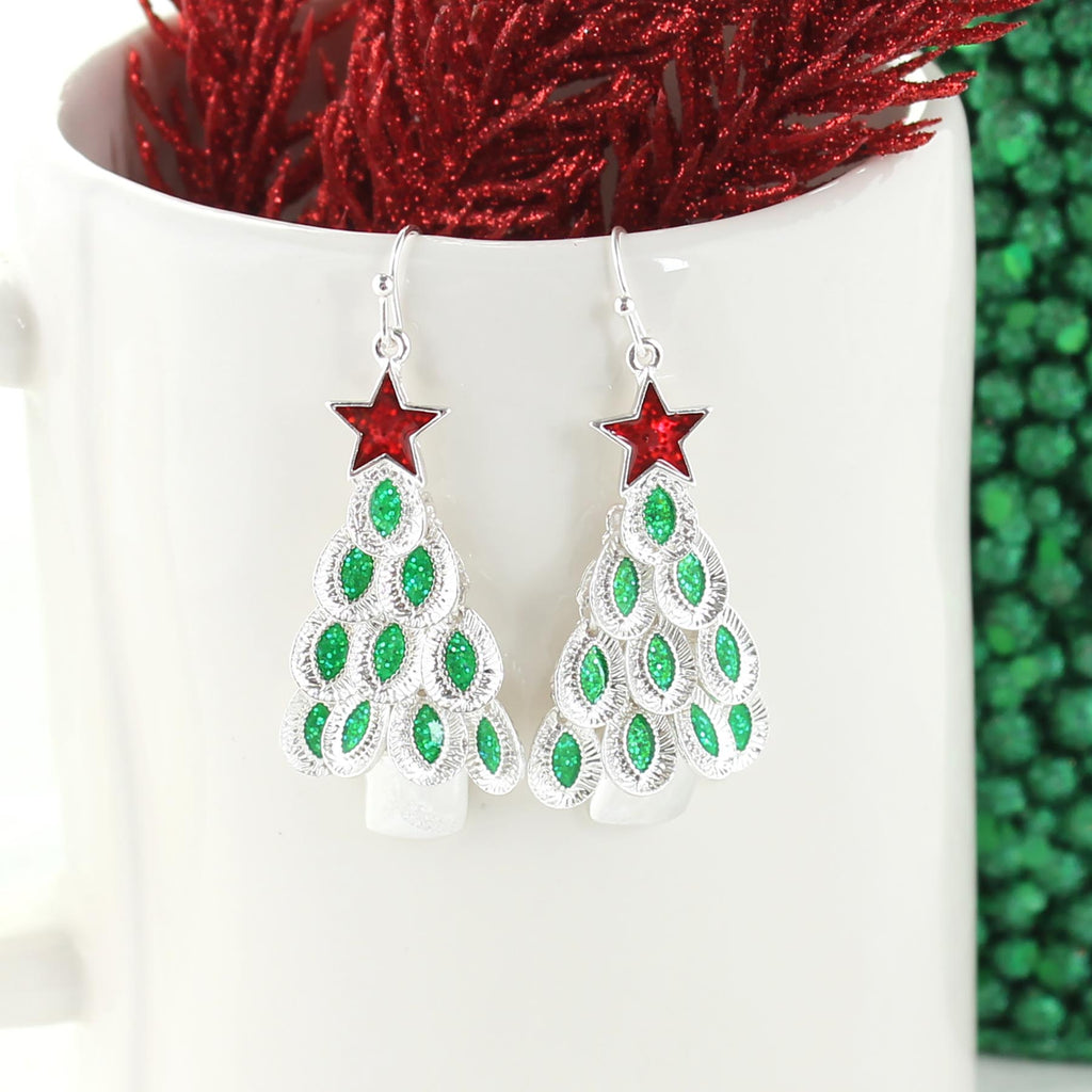 Dangle Leaf Christmas Tree Earrings