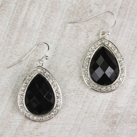 Seasons Jewelry Black Teardrop Earrings