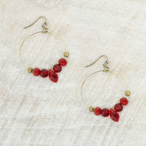 Crimson Crystal Hoop Earrings