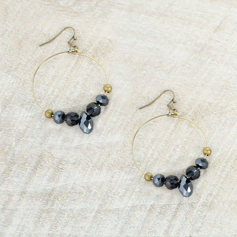 Navy Crystal Hoop Earrings