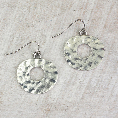 Seasons Jewelry Hammered Oval Earrings