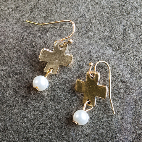 Gold Cross with Pearl Bead Earrings