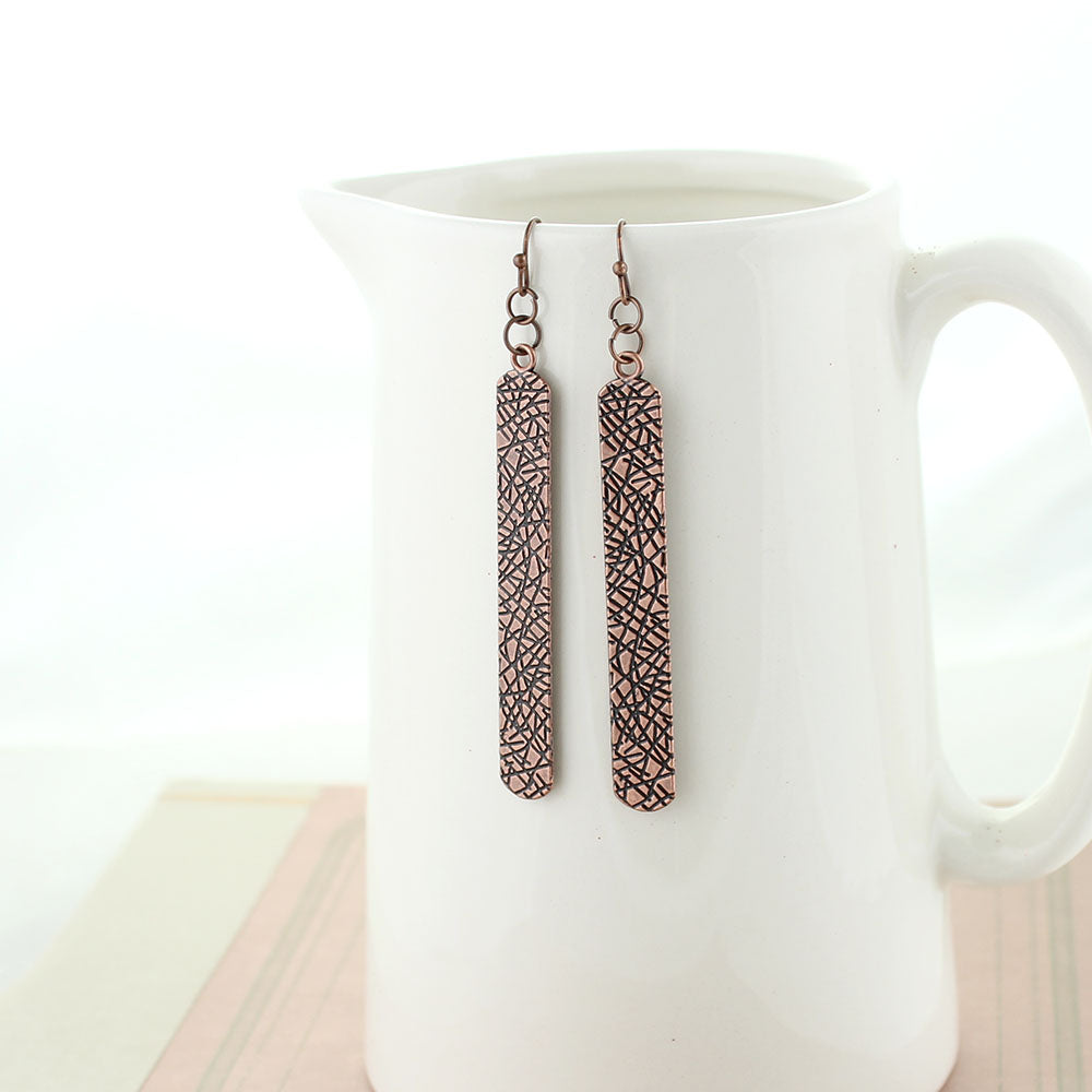 Copper Textured Bar Earrings