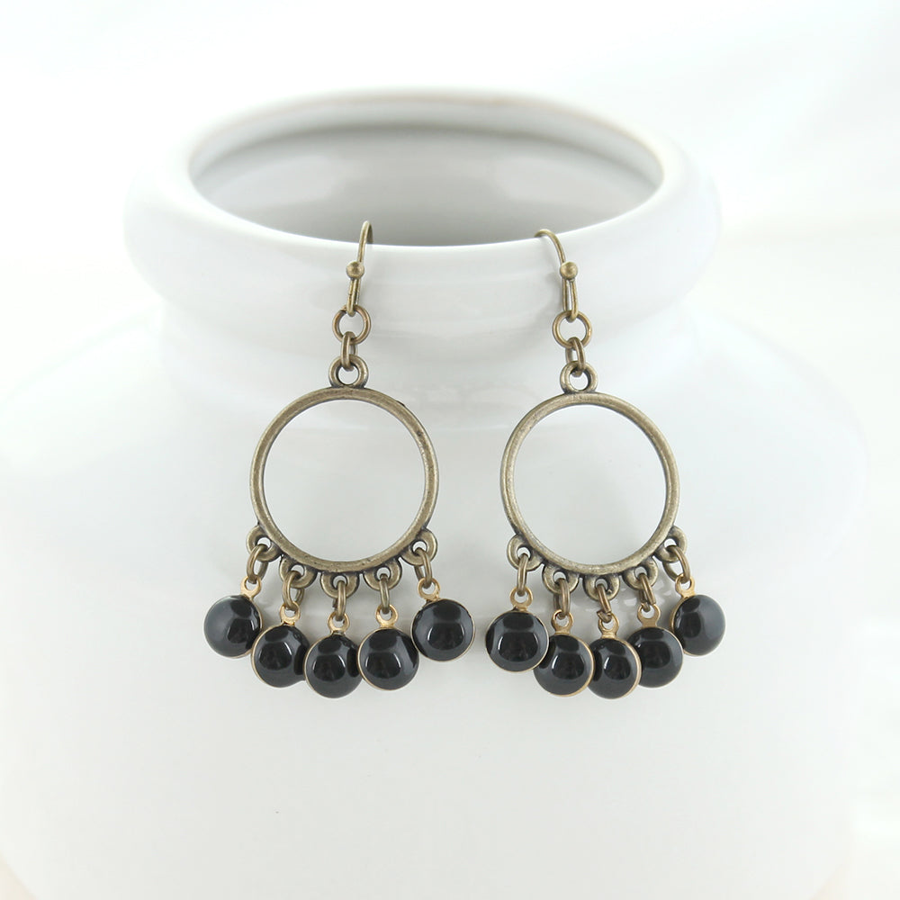 Vintage Enamel Dot Earrings - Black
