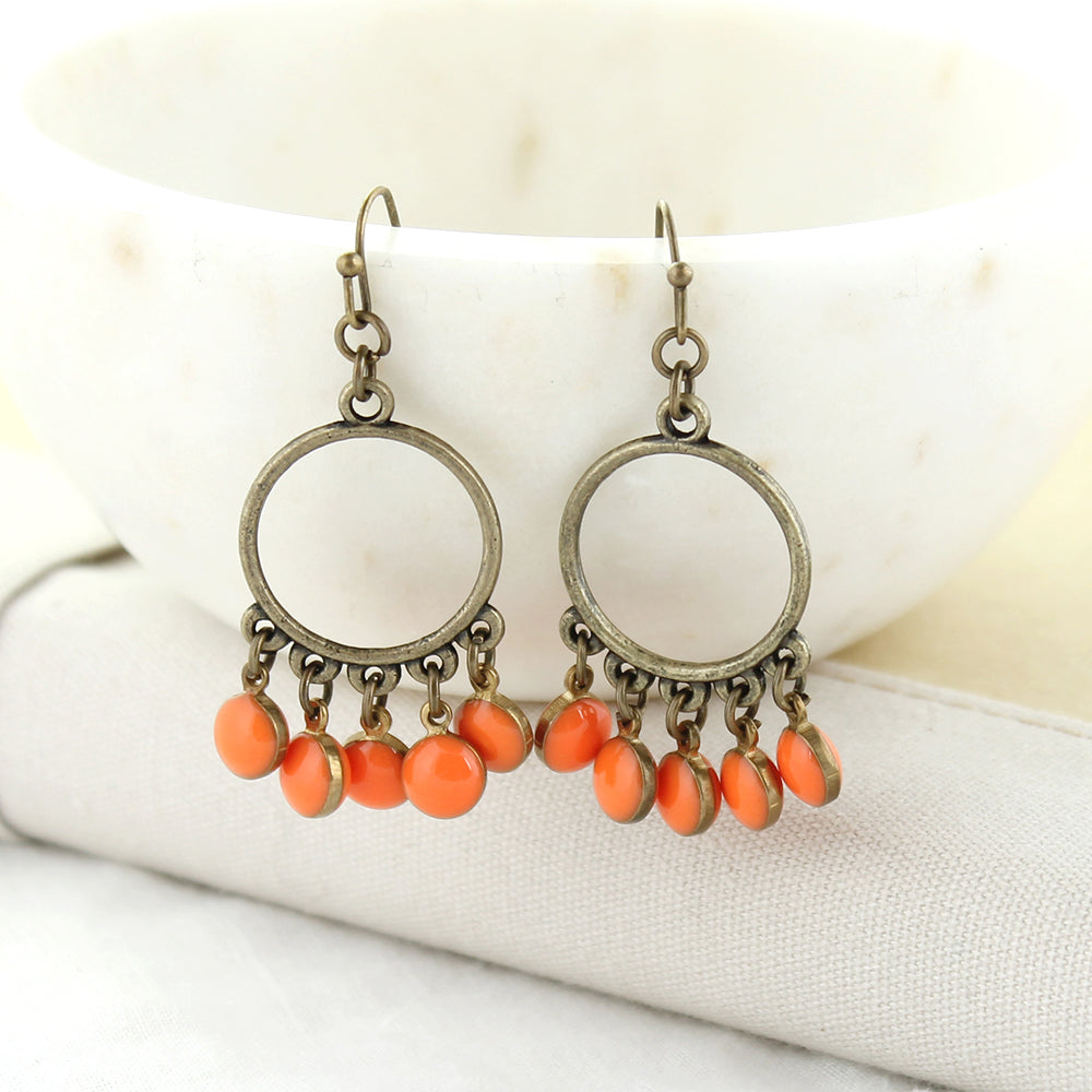 Vintage Enamel Dot Earrings - Orange