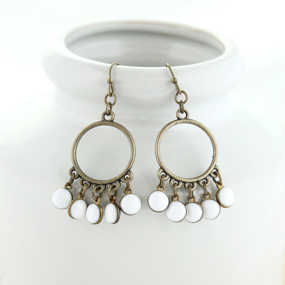 Vintage Enamel Dot Earrings - White