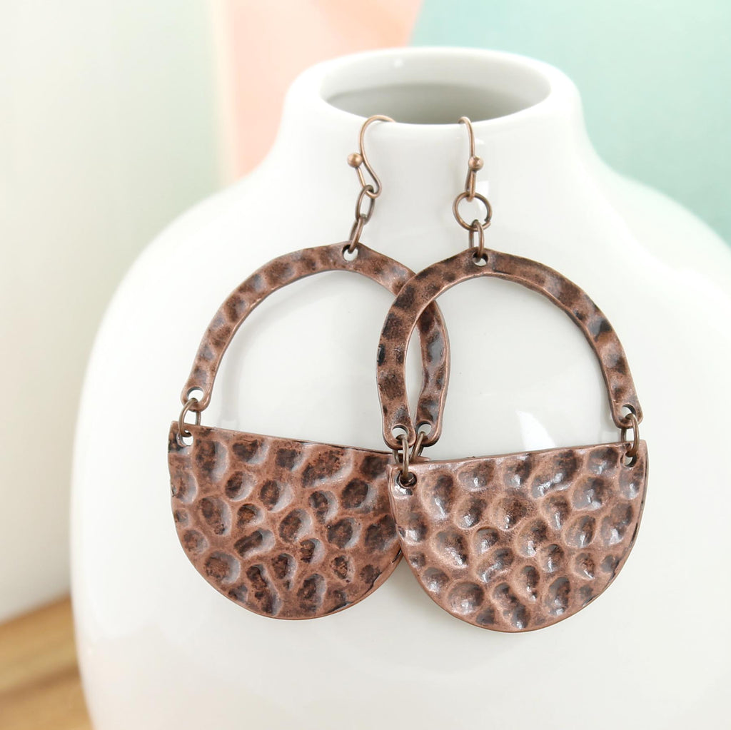 Hammered Copper Semi-Circle Earrings