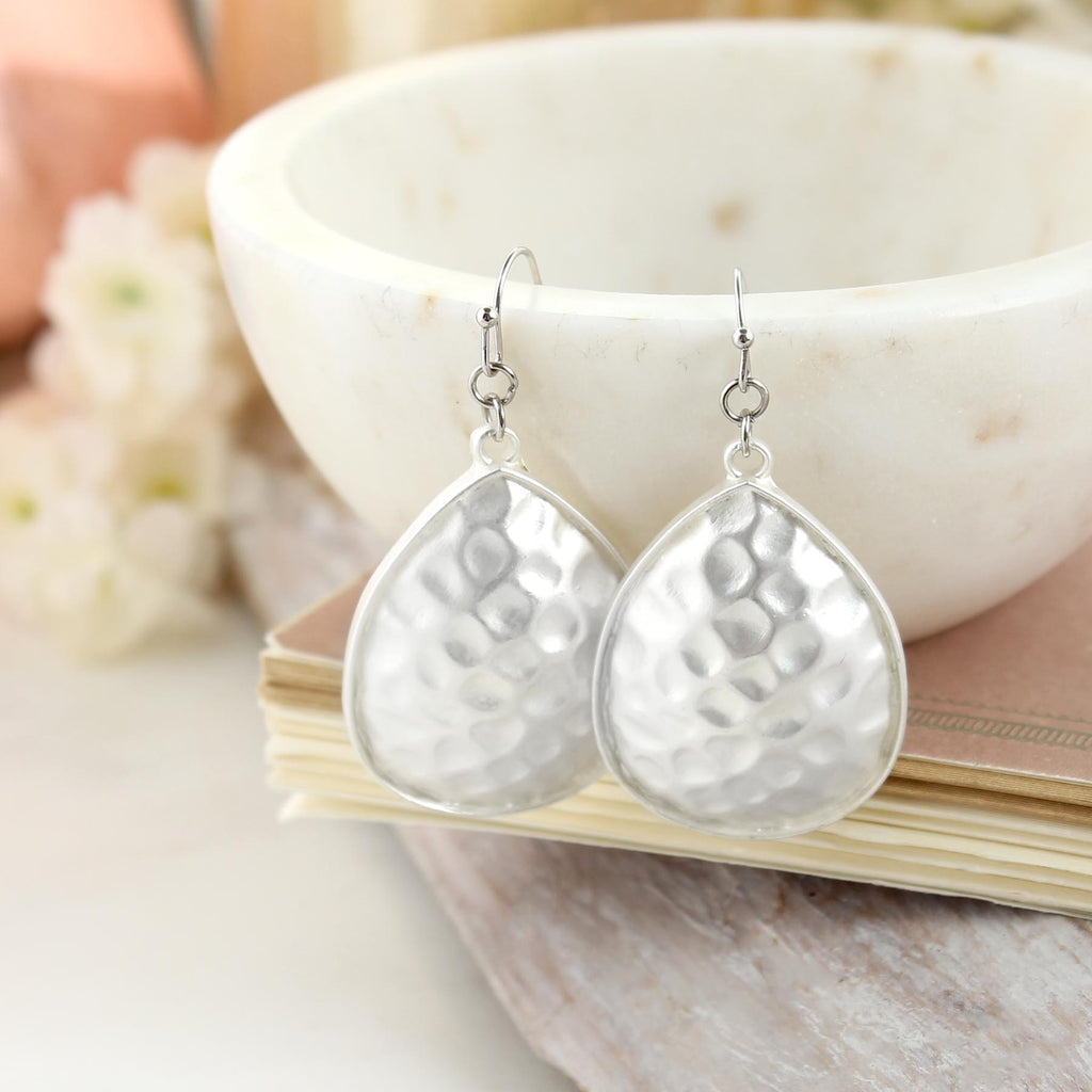 Matte Silver Hammered Teardrop Earrings