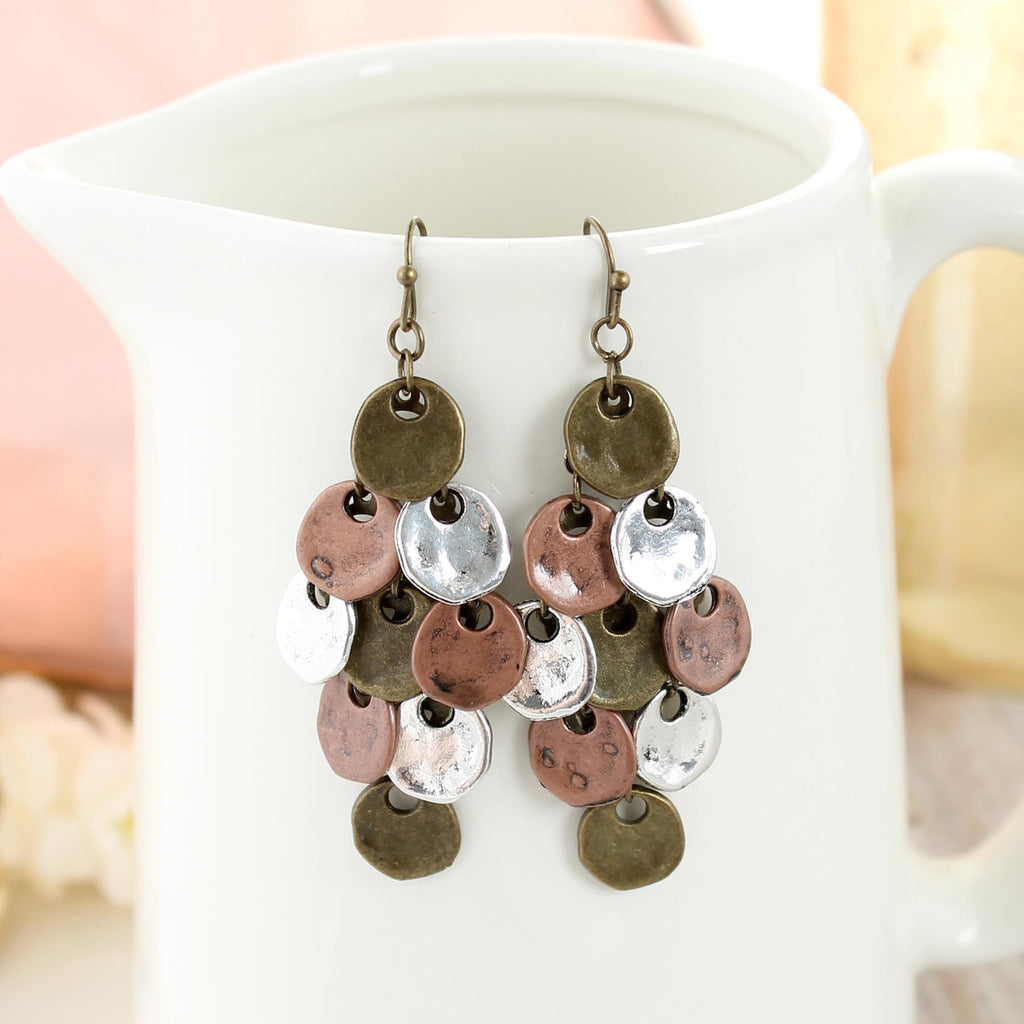 Mixed Metal Disc Earrings