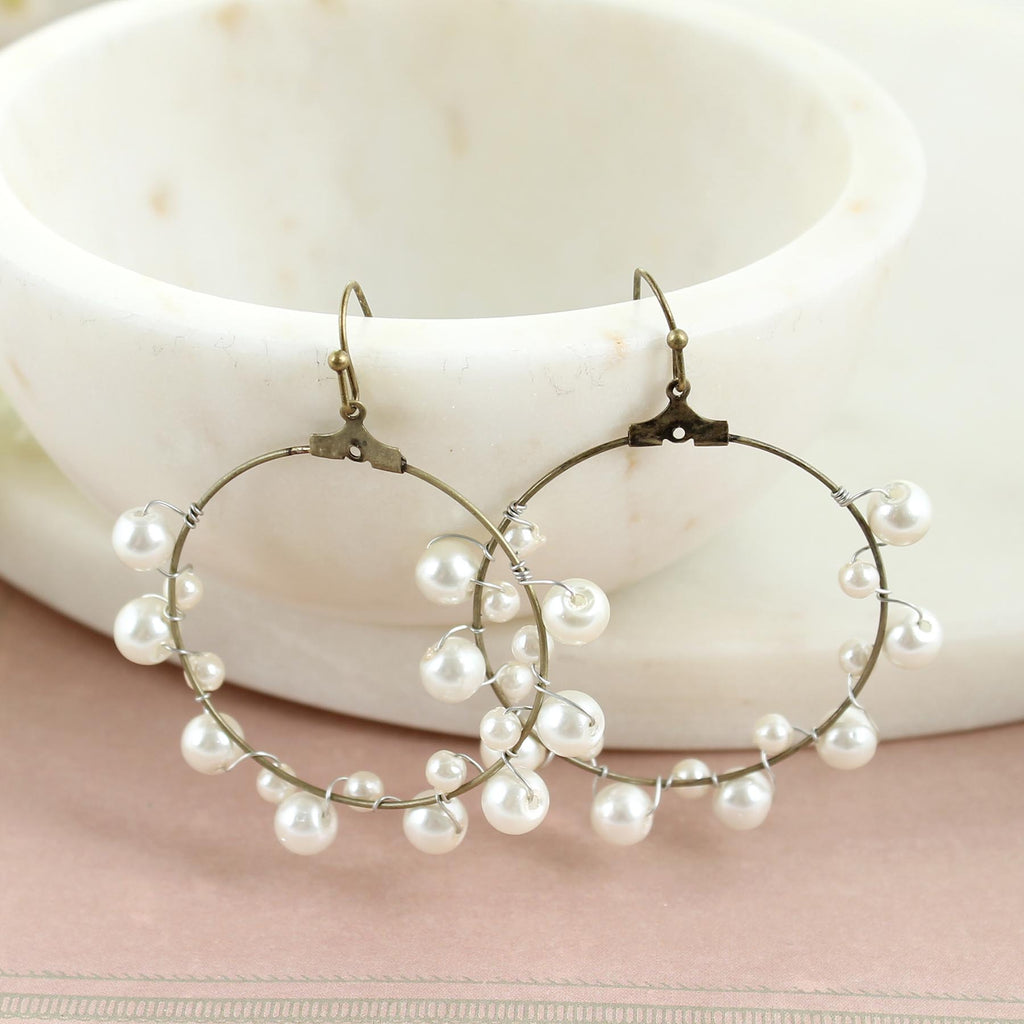 Pearl Wrapped Hoop Earrings