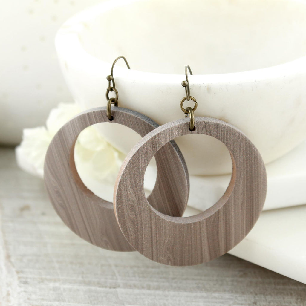 White Wash Wood Circle Earrings