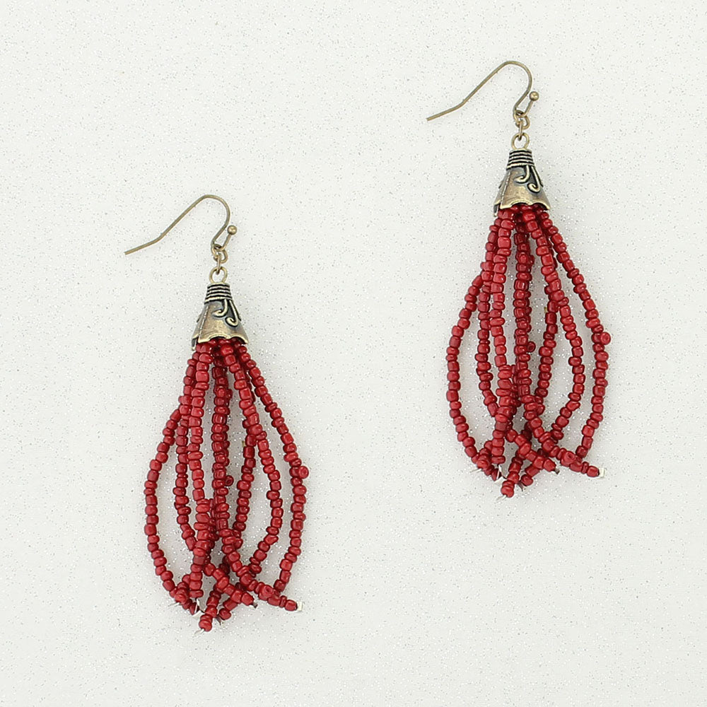 Crimson Bead Tassel Earrings