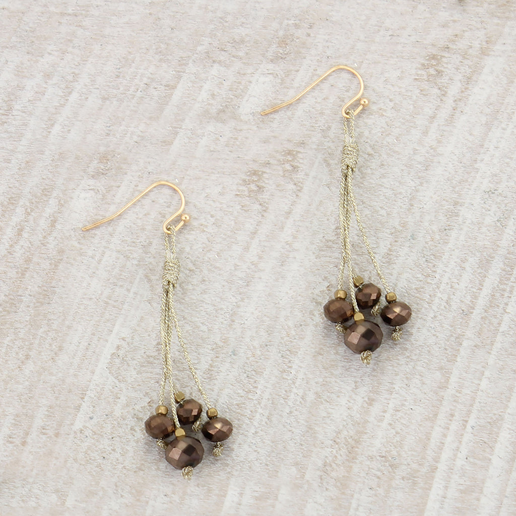Gold Cord & Brown Bead Earrings