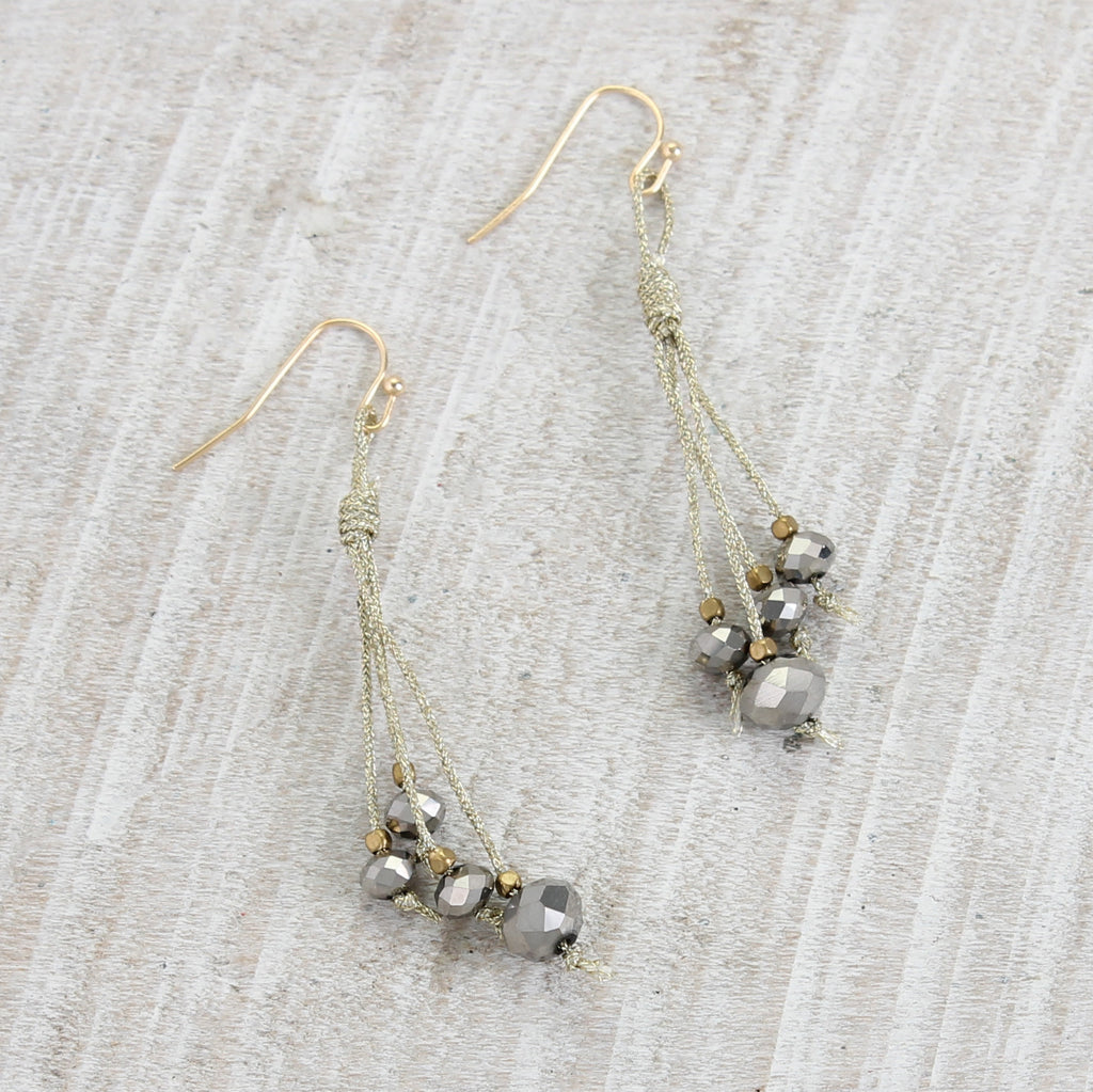 Gold Cord & Gray Bead Earrings