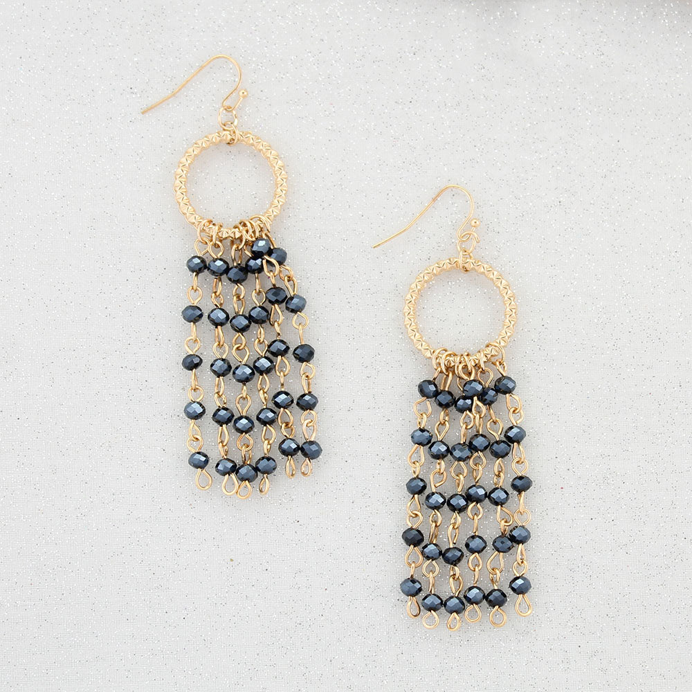 Gold & Navy Crystal Waterfall Earrings