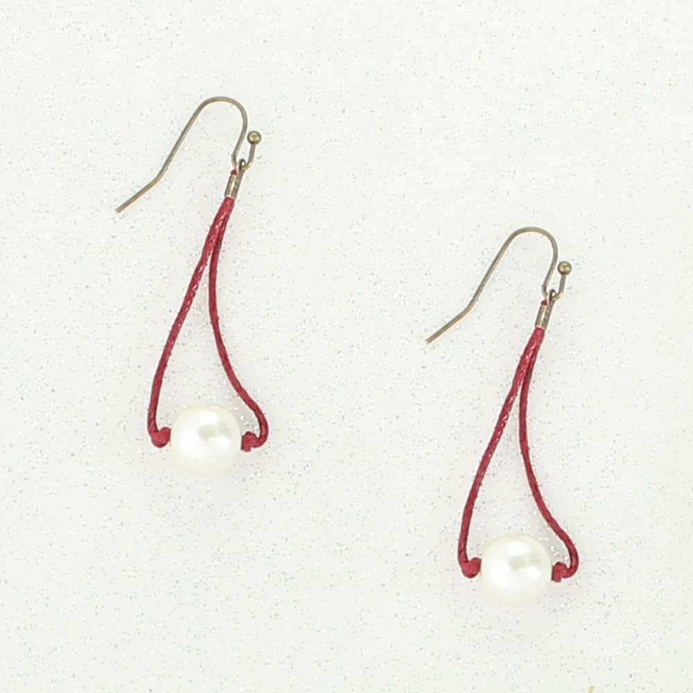 Crimson Cord & Pearl Earrings