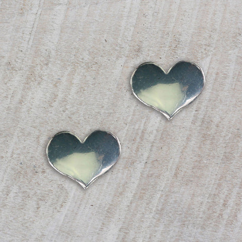 Seasons Jewelry Silver Heart Stud Earrings