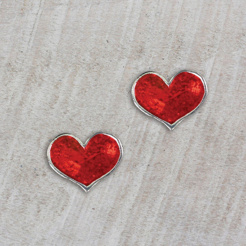 Seasons Jewelry Enamel Heart Stud Earrings