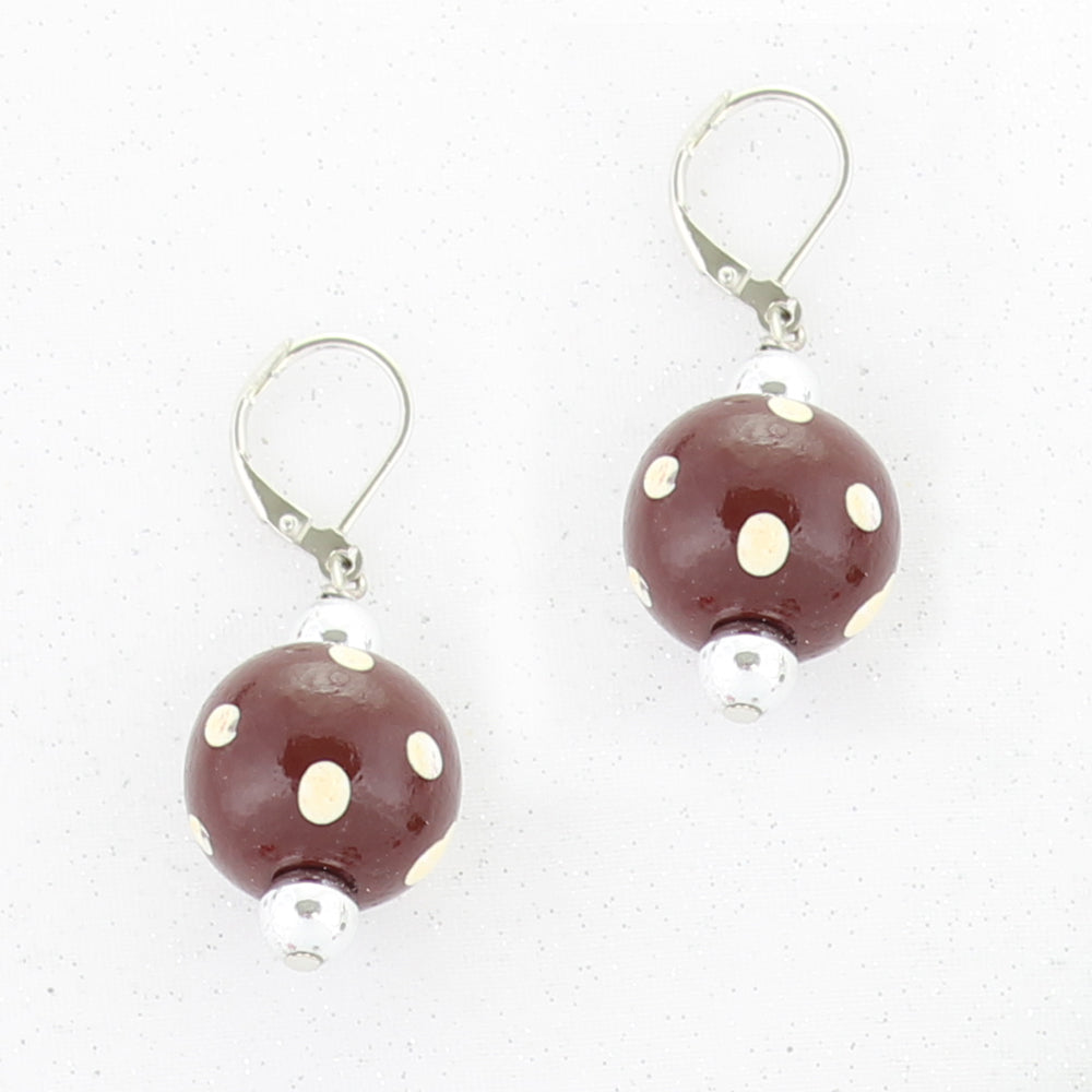 Maroon & White Polka Dot Wood Bead Earrings