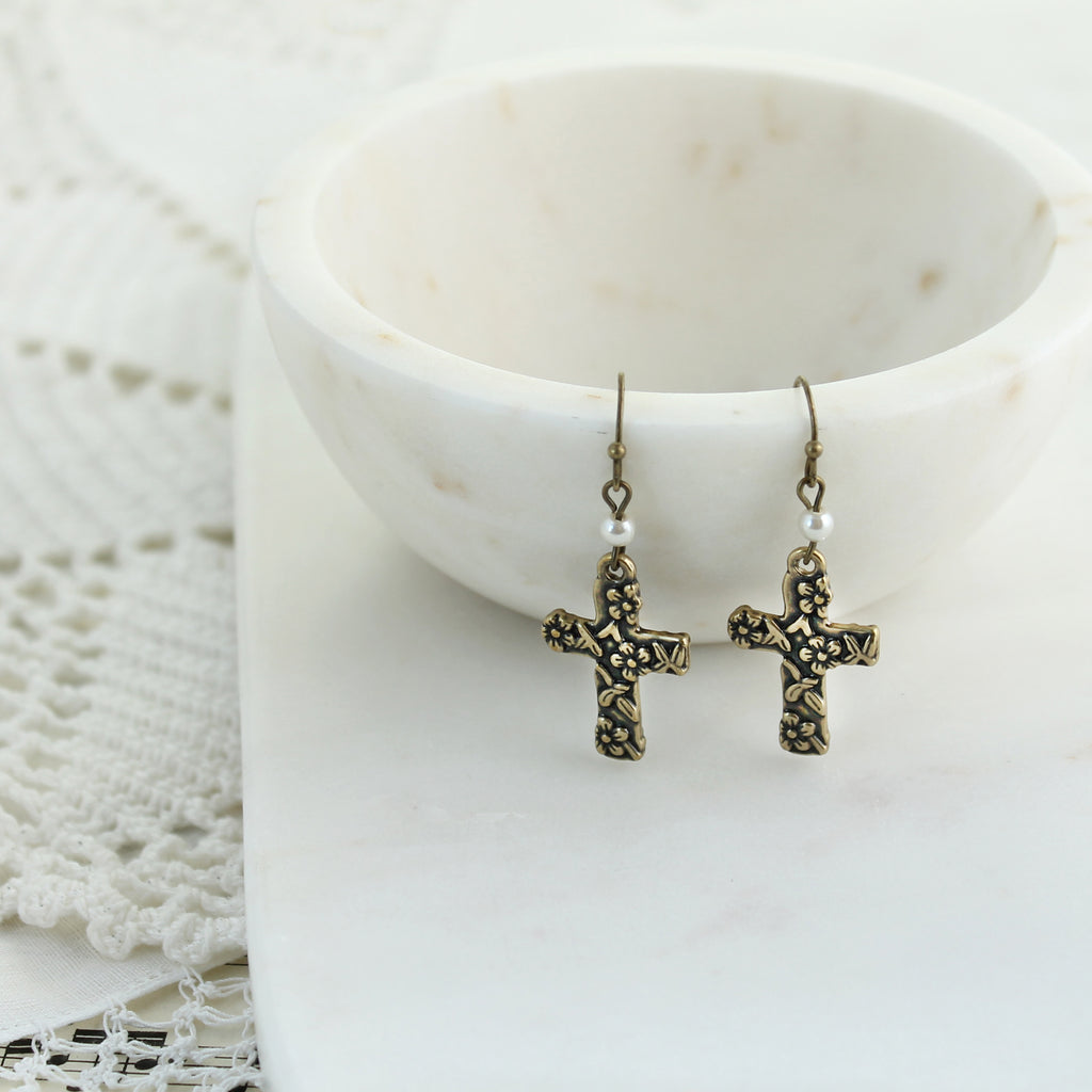 Vintage Style Floral Cross Earrings