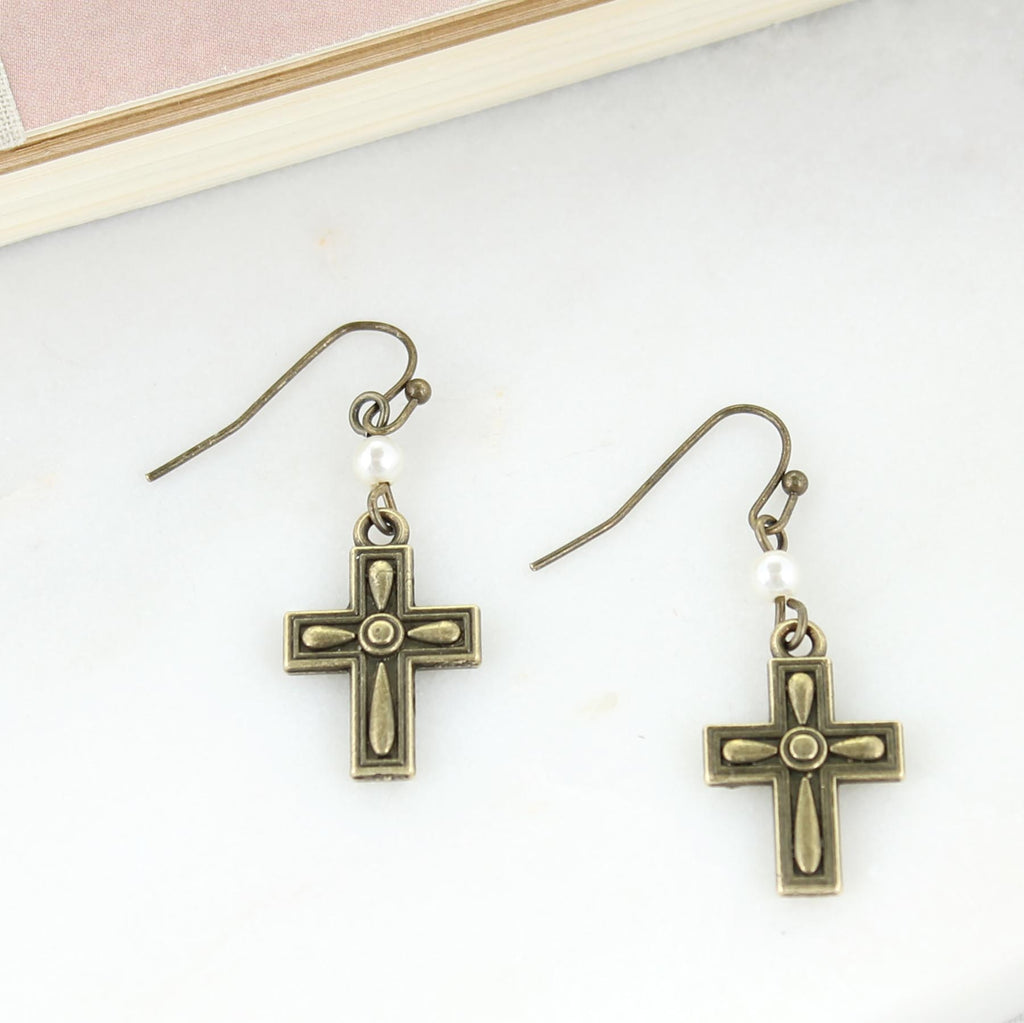Vintage Cross & Pearl Earrings