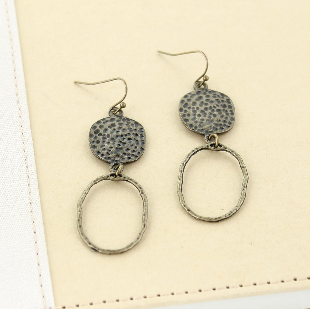 Vintage Oval & Hammered Disc Earrings