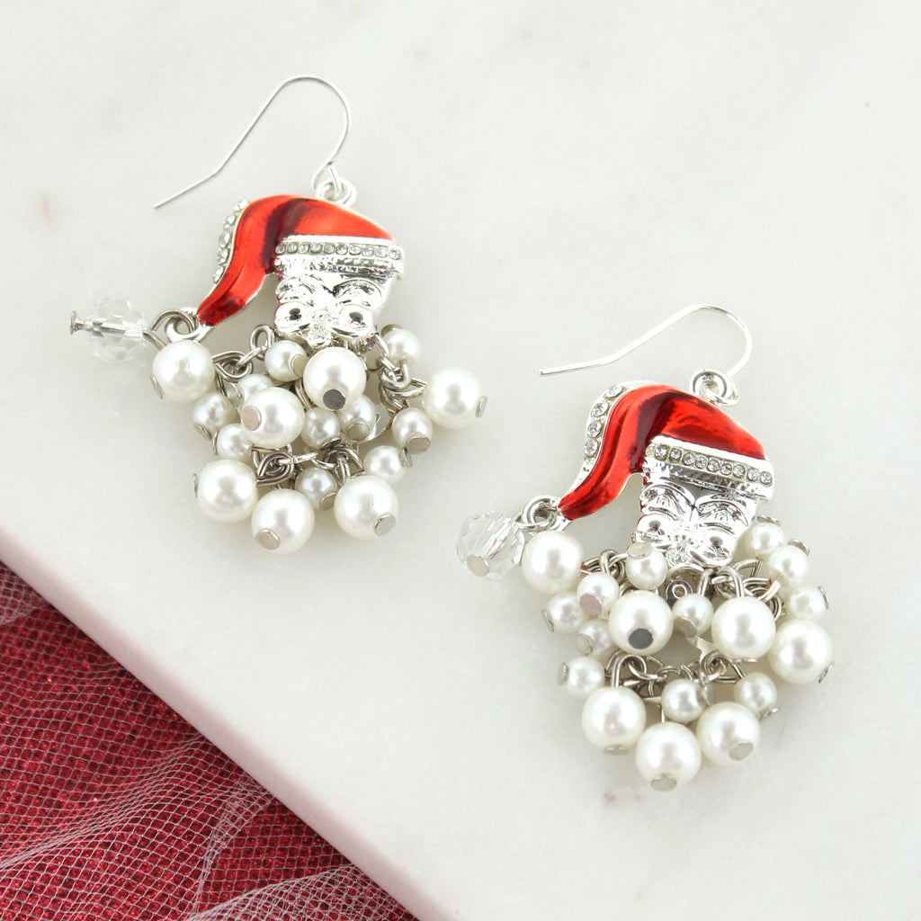 Pearl Dangle Beard Santa Earrings
