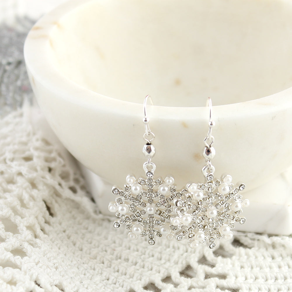 Pearl & Crystal Snowflake Earrings