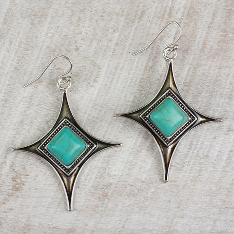 Seasons Jewelry Diamond Turquoise Earrings
