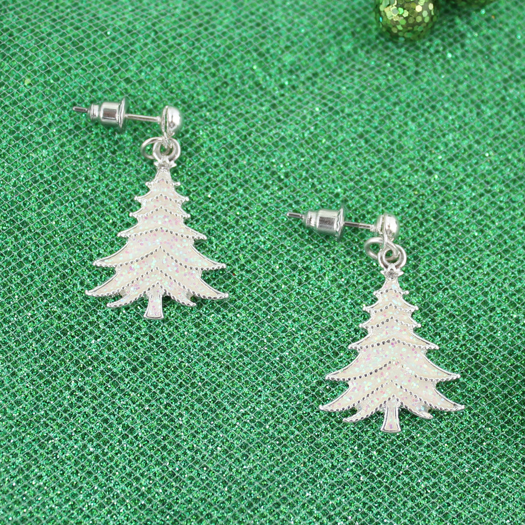 White Glitter Tree Earrings