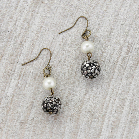 Vintage Style Pearl & Hematite Earrings