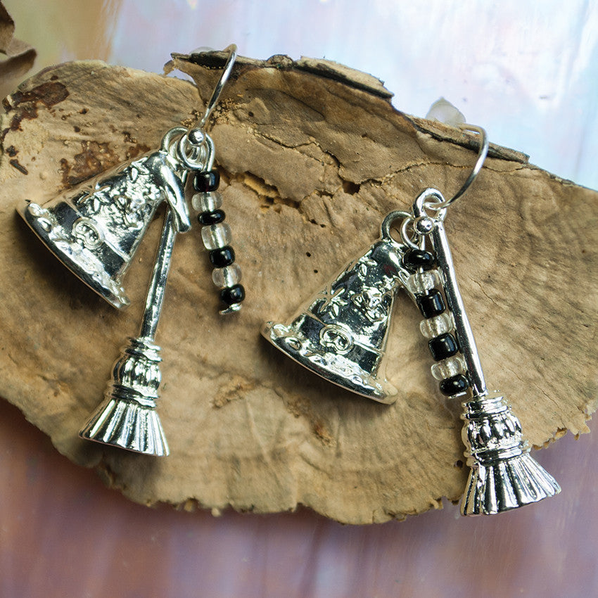 Silver Witch Hat Earrings