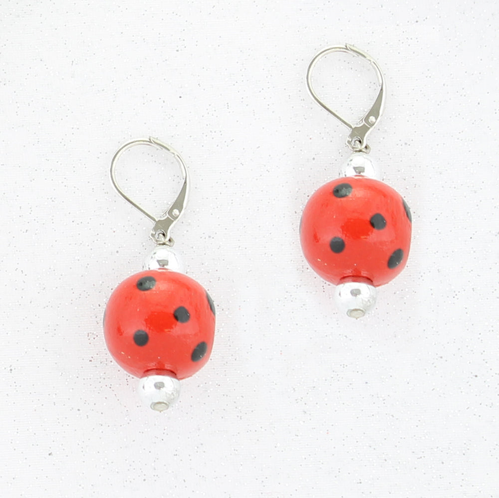 Red & Black Polka Dot Wood Bead Earrings